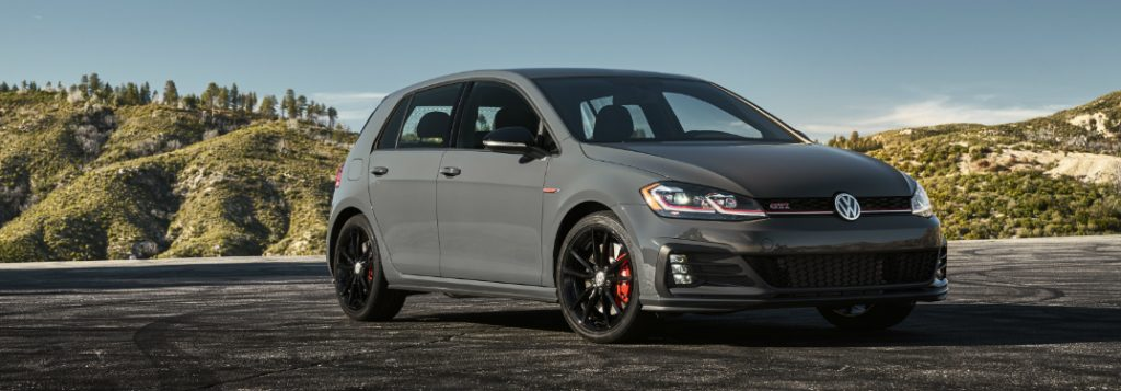 a leading family car for UK motorists. The VW Golf GTI, in gun metal grey.